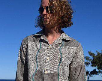 Heren lange mouw Shirt - 100% katoen - knop Up - Aboriginal illustraties afdrukken - Bush UI Dreaming - Beige en bruin met turquoise ontwerp