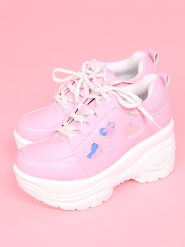 WEGO WC / Heart platform sneakers Pink