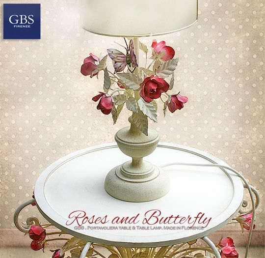 Roses and Butterfly Table Lamp. Tavolino Portavoliera e abat-jour Rose e Farfalla. Hand-painted wrought iron. Tempera bianca. GBS Firenze. Made in Italy. #table #lumiere #tabledechevet #floral #tolechandelier #wroughtiron #madeinitaly #tablelamp #shabbychic #countrychic #romanticdesign #interior #comodino #arredamento #bouquet #schmetterling #gbsfirenze #butterfly #farfalla #florence #firenze GBS HOME: www.gbsfirenze.com GBS Lightings: www.wroughtiron-italy.com