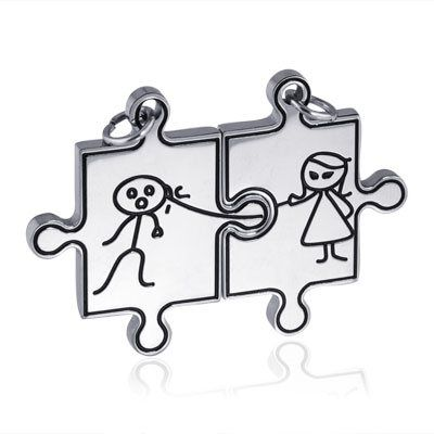 Puzzle partnerské přívěšky Ona a On