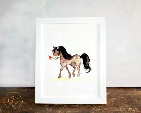 Pony Art Digital Download Animal Artwork by BEEautifulcreatures