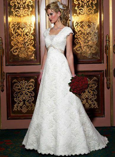 Fancy Floor-length Short-Sleeves Lace A-line/Princess Wedding Dresses