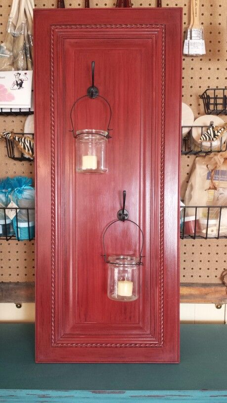 Cabinet Door Re Purposed As A Wall Hanging Candle Holder