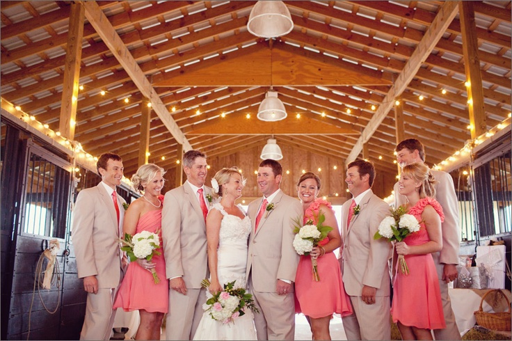 great idea of how tan suit and peach dresses would look in the barn