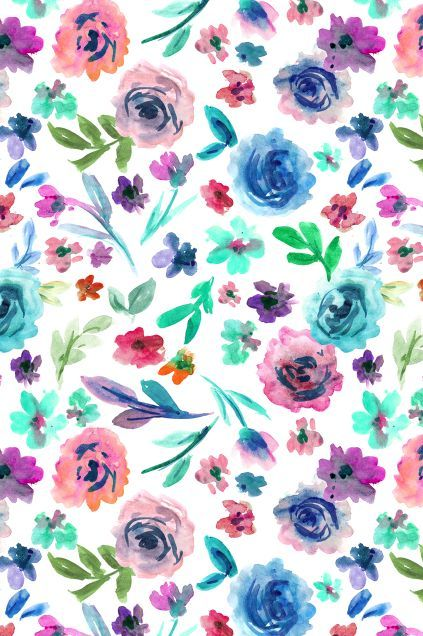 Purple And Teal Floral Wallpaper