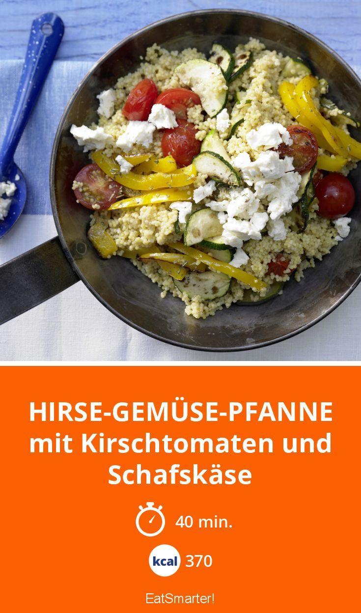 Hirse-Gemüse-Pfanne - mit Kirschtomaten und Schafskäse - smarter - Kalorien: 370 Kcal - Zeit: 40 Min.   eatsmarter.de