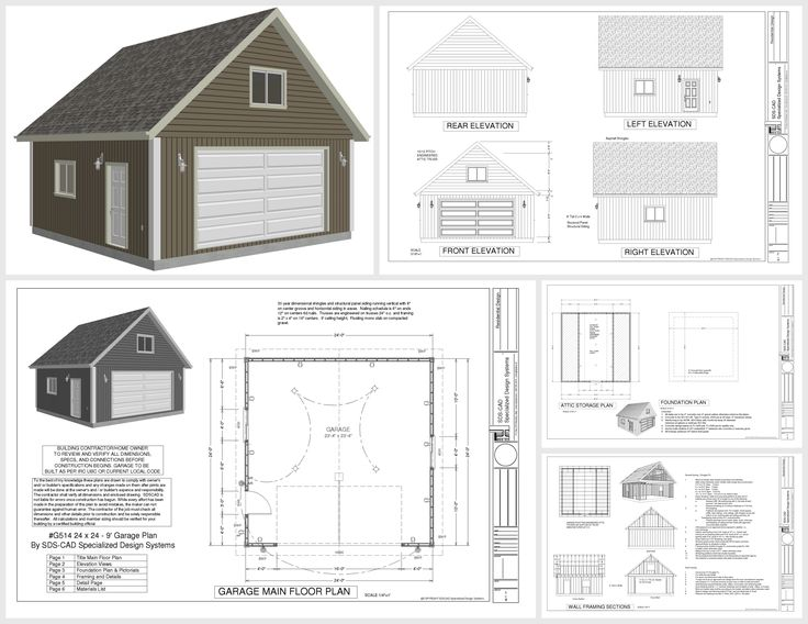 G514 24 x 24 x 9 loft garage plans in pdf and dwg shops for 2 bay garage with loft