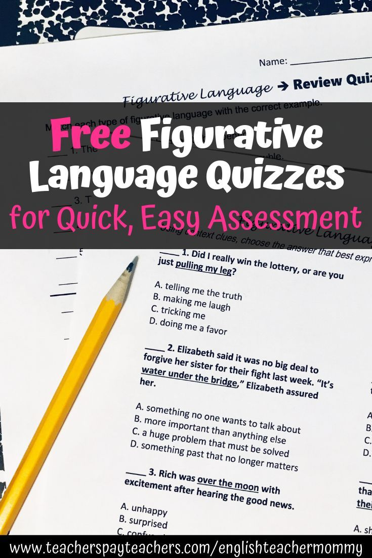 Download Free Figurative Language Activities These Middle School Practice Quizzes Cover Figurative Language Similes And Metaphors Figurative Language Activity