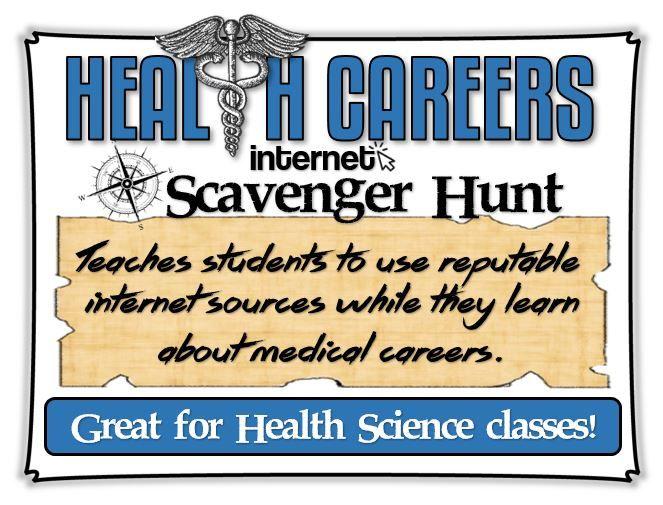 Health Careers Internet Scavenger Hunt Great For Health Science Classes Internet Scavenger Hunt Health Careers Health Science