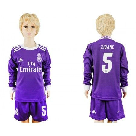 Real Madrid Trøje Børn 16-17 #Zidane 5 Udebanetrøje Lange ærmer.222,01KR.shirtshopservice@gmail.com