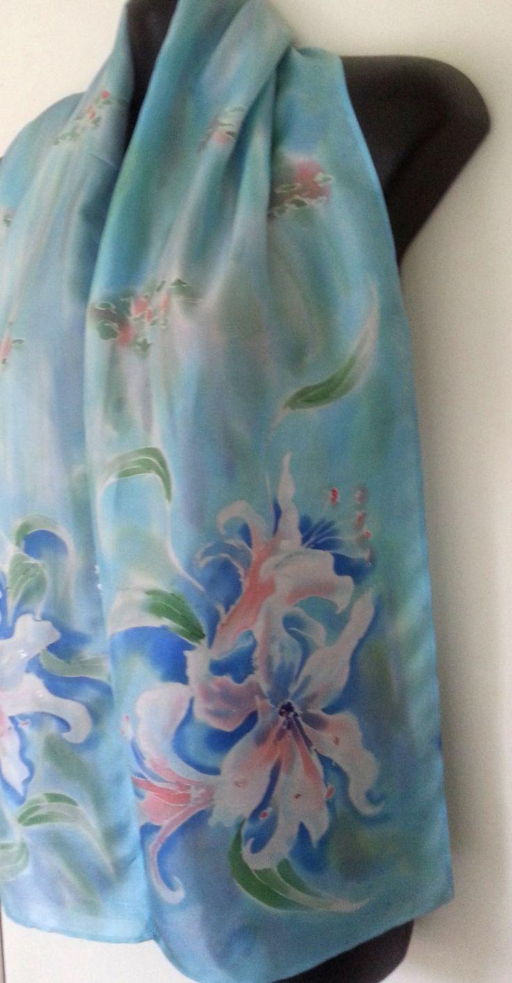 LILY Monet Watercolours, Floral silk Scarf, Hand Painted Lily Flowers, New Zealand handmade, Pale blue Silk scarf, Pastel Apricot 150 x 28cm by KiwiSilks on Etsy