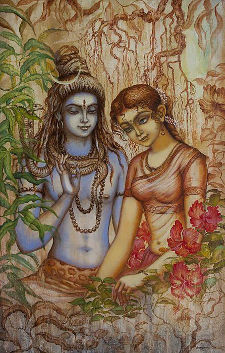 Shiva And Parvati Canvas Print / Canvas Art by Vrindavan Das
