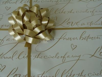 Great old gold wrapping paper for a wedding gift!