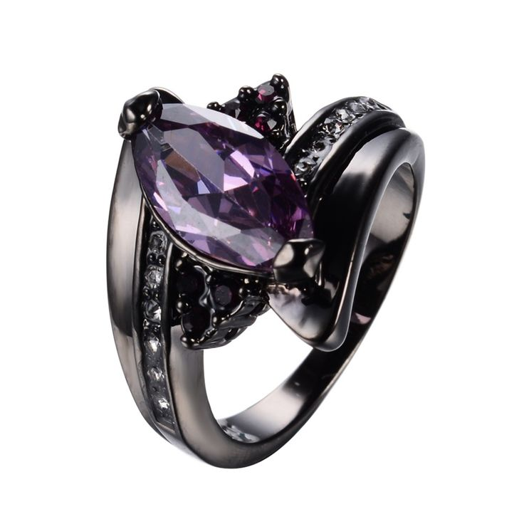 Amethyst Jewelry Horse Eye Purple Zircon Rings For Female Black Gold Filled Wedding Party Engagement Women Promise Ring RB0585