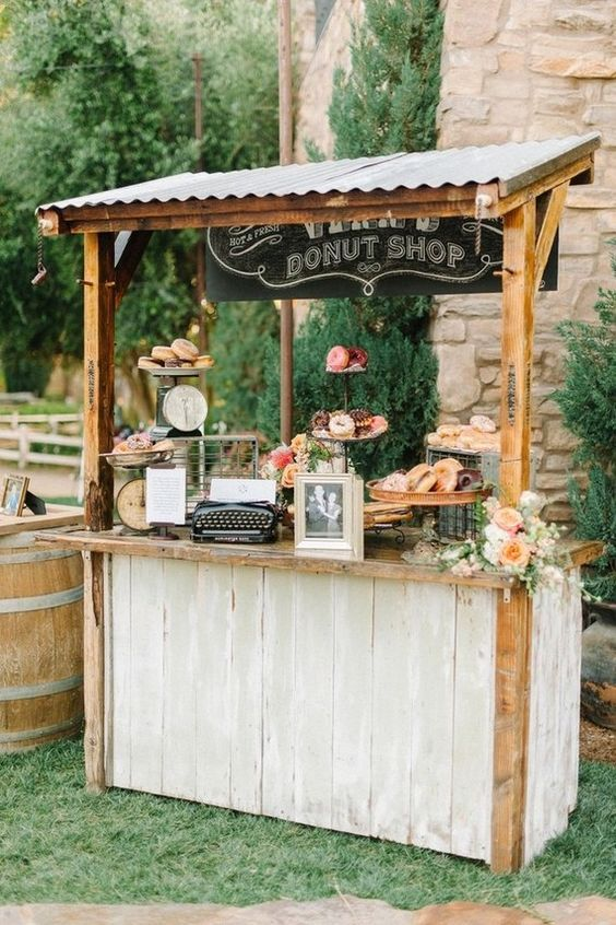rustic donut shop wedding decor / http://www.deerpearlflowers.com/rustic-wedding-details-and-ideas/2/
