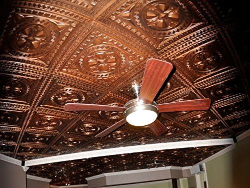 Faux Tin glue up/drop in Ceiling tile TD01 Aged Copper pack of 25 2'X2′ tiles ( ~ 100 sq.ft). Easy to install PVC ceiling tiles. Antique look ceiling. Great vintage backdrop. DIY ceiling.