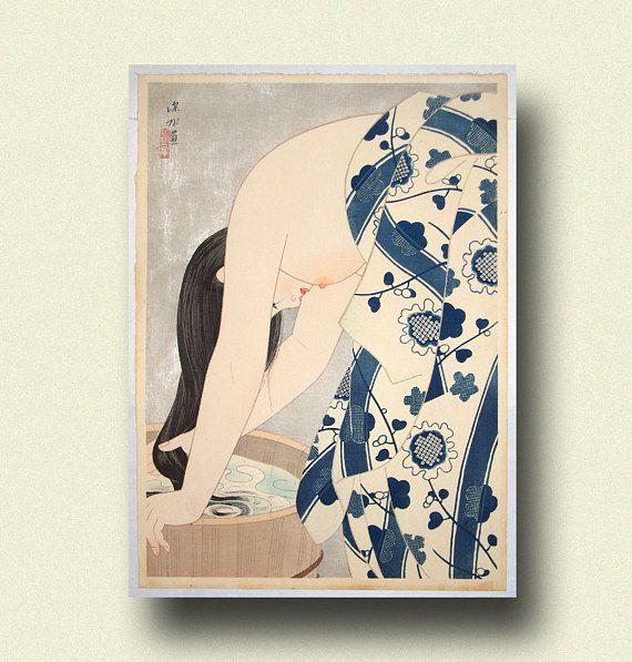 Shinsui Washing the Hair by Ito Shinsui // Print // Ukiyo-e // Japanese Art 1953