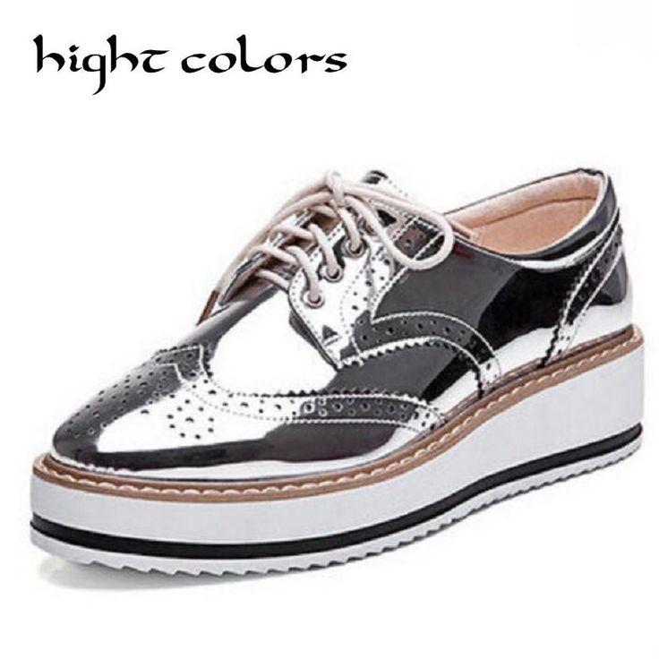 US $27.73 -- Новых Женщин Крылатый Оксфорд Узелок Полосатый Платформа Металлик Серебристый Черный Мода Старинные Платформы Баллок Плоские Женские Туфли 10.5 купить на AliExpress