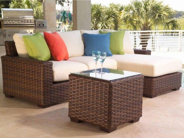 Outdoor Brown Classic Vaarnished Wooden Conversation Set With Glass Also Colorfull Pillow And  Patio Sets on Sale for Your Lounger Outdoor Dining Area
