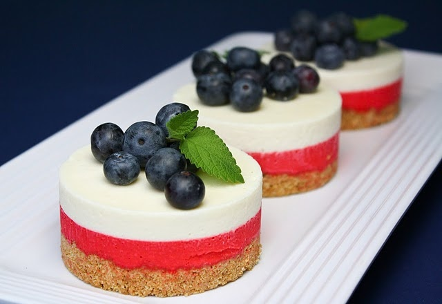 White Chocolate No Bake Cheesecake....Patriotic looking