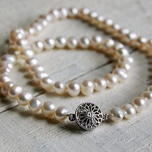 Pearl Necklace With Round Vintage Style Clasp   necklaces  amp  pendants