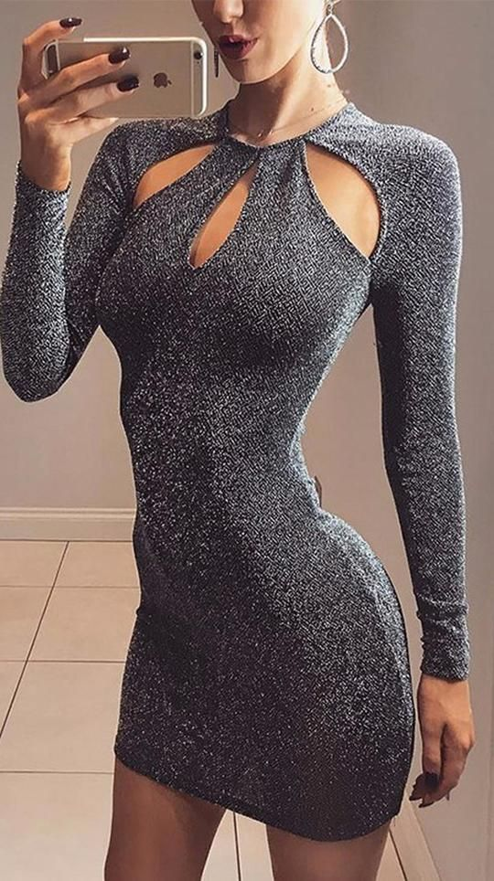 Cute Christmas New Years Outfit Ideas for Women for Teens Glitter Grey  Summer Spring Black Keyhole Cut Out Cocktail Party Long Sleeve Mini Short  Dresses ... c0c7b5d282c2