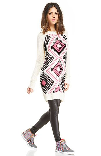 Lucca Couture Aztec Sweater Dress  | DAILYLOOK