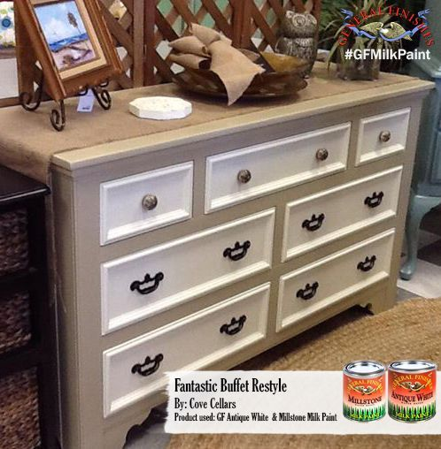 Cottage Cove Cellars, https://www.facebook.com/cottagecovecellars?fref=ts, went with a lovely neutral palette for this dresser makeover.  It was painted with GF Antique White and Millstone Milk Paints. You can find your favorite GF products at Woodcraft, Rockler Woodworking stores or Wood Essence in Canada. You can also use your zip code to find a retailer near you at http://generalfinishes.com/where-buy#.UvASj1M3mIY.