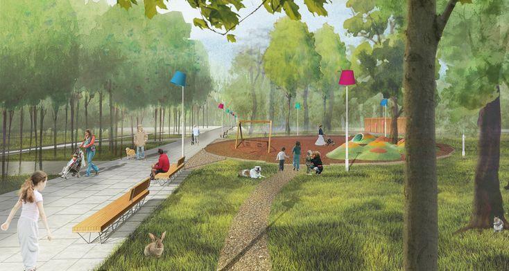 Городской парк в городе Гагарине. Главная аллея. Проект, 2015 © Архитектурное бюро Практика