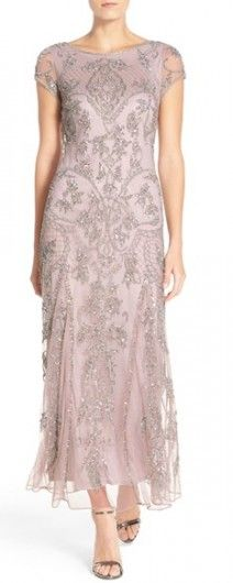 Petite Women's Pisarro Nights Embellished Mesh Gown, Size 2P - Metallic