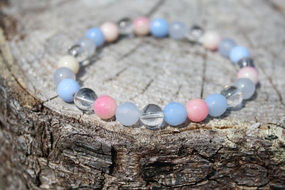 Loving, Calming and Soothing Bracelet:  Rock Crystal Quartz, Blue Agate, Pink Candy Jade.  Genuine Power Stones JUZU mala bracelet.