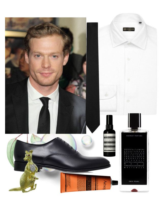 """Sam Reid"" by chicbluemarty ❤ liked on Polyvore featuring Corneliani, Agonist, Salvatore Ferragamo, Yves Saint Laurent, Aesop, men's fashion and menswear"