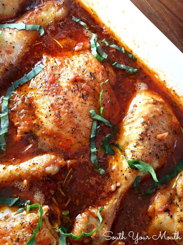 Pollo Cacciatore!  Esta receta se puede hacer en el horno o la olla de barro!  El pollo simplemente reduce el hueso después de que se guisa en la rica salsa de tomate.
