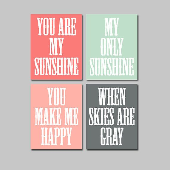 You Are My Sunshine Wall Art Canvas Artwork Peach Coral Seafoam Charcoal Gray  Quote Crib NURSERY Song Print Set of 4 Prints Baby Decor