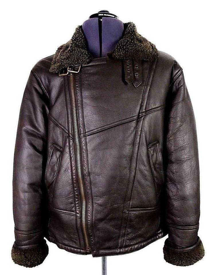 Vintage Sheepskin Leather B3 Bomber Jacket Flying Pilot