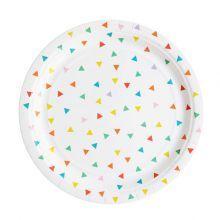 8+Χάρτινα+πιάτα+με+πολύχρωμα+τριγωνάκια