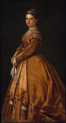 Mrs. Lewis Tappan in lovely copper colored dress with long satin sashes in front & heavily trimmed skirt & sleeves, 1860's.