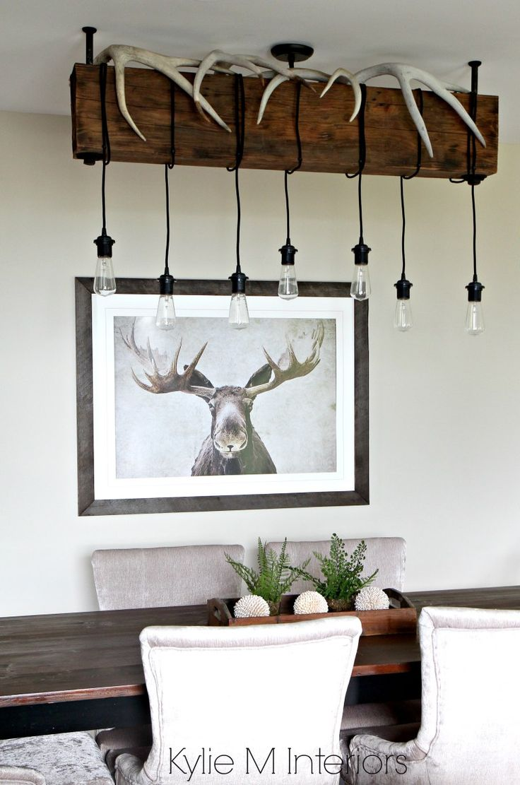Benjamin Moore Grant Beige, Rustic, hunting decor with industrial chandelier (DIY). Kylie M Interiors DEsign Consultant, E-Design