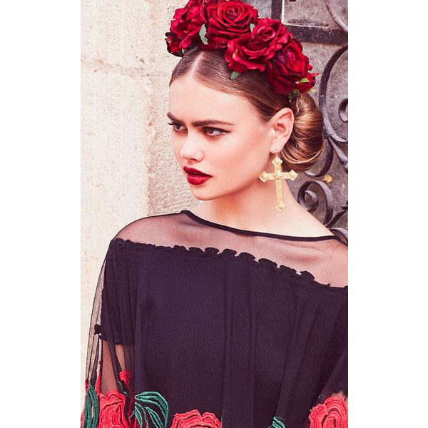 Rock N Rose Beatrice Red Rose Baroque Crown ($60) ❤ liked on Polyvore featuring accessories, hair accessories, head wrap headbands, vintage headbands, rose crown, hair band accessories and leaf hair accessories