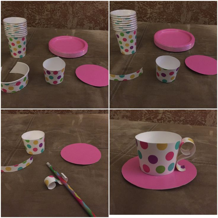 DIY teacup cupcake wrappers. Perfect for Alice in Wonderland - Mad Hatter party. Only supplies needed are fun paper cups, coordinating paper plates, scissors, a pencil to roll the handle, and hot glue.