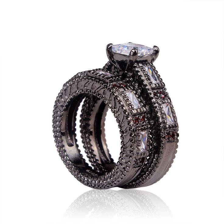 Goedkope zwarte ring 2016 vrouwen trouwringen sieraden groothandel vintage sieraden vergulde wit rood zirconia ring sets