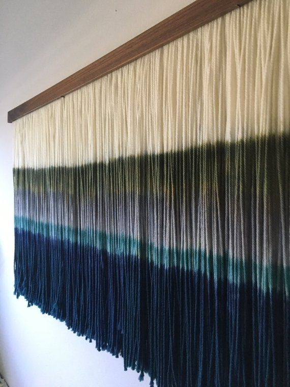 Dip Dyed Wall Hanging Yarn Tapestry Boho Wall Hanging Etsy Yarn Wall Hanging Macrame Wall Art Boho Wall Hanging