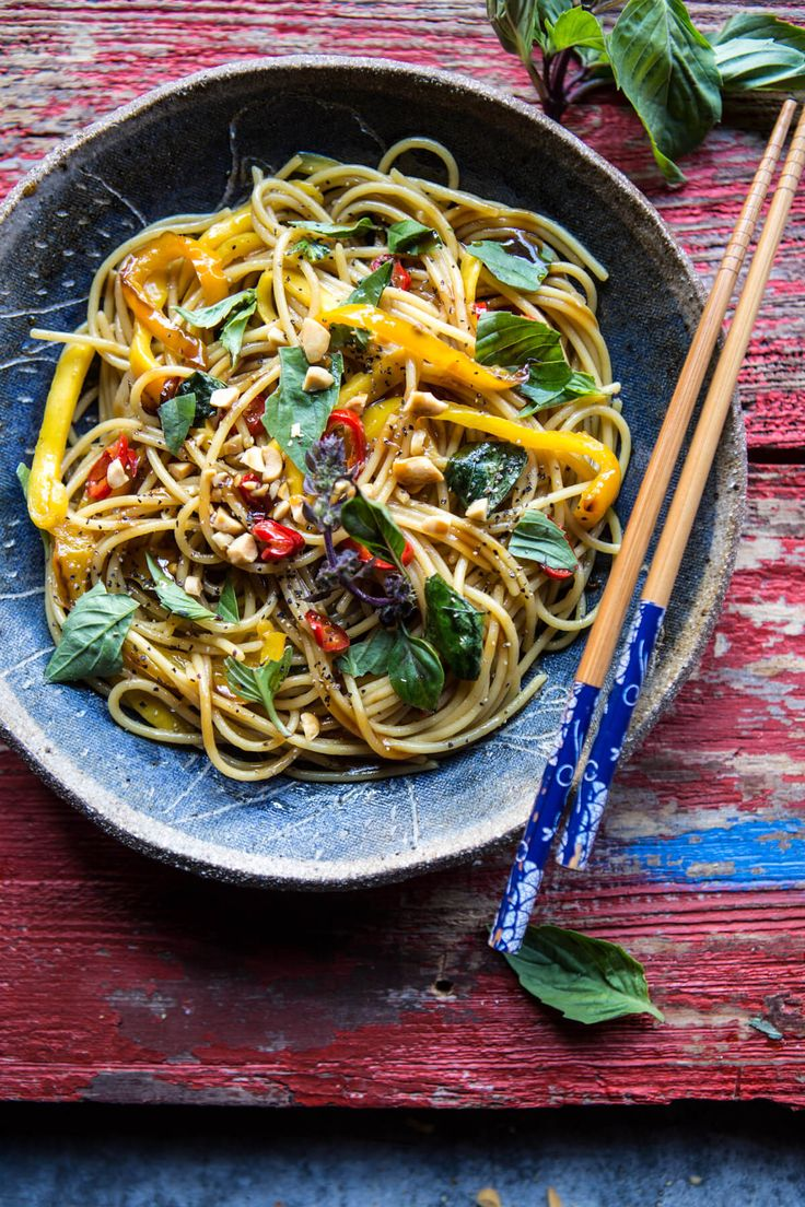 15 Minute Bangkok Peanut Mango Pasta - delicious, quick, easy AND healthy... YEAH! From halfbakedharvest.com
