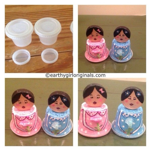 Recycled condiment cups and water bottle cap mini dolls for Water bottle cap crafts