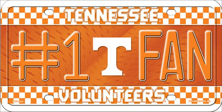 No 1 Fan Tennessee Volunteers  Football License Plate Tag #UniversityofTnKnoxville