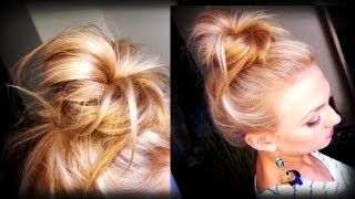 Hair How To: Messy Topknot Bun, via YouTube.