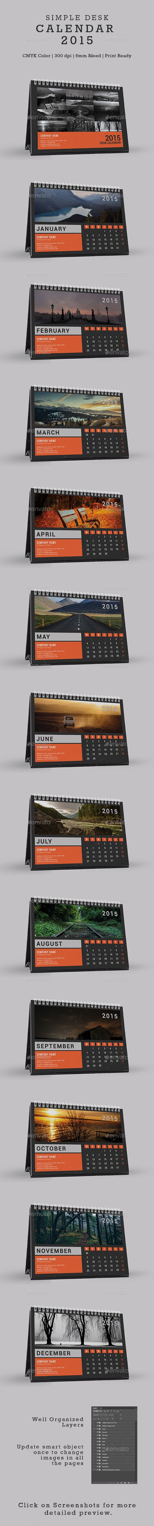 Simple Desk Calendar 2015 Template | Buy and Download…