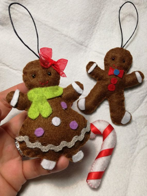 Ornamento di Natale felt SET 2 pan di zenzero di FattoDaDesy