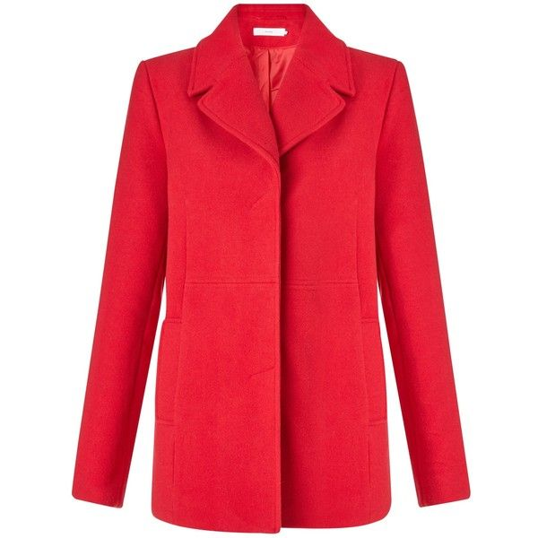 John Lewis Helena Single Breasted Pea Coat , Red ($120) ❤ liked on Polyvore featuring outerwear, coats, red, long sleeve coat, short pea coat, red pea coat, pea coat and pea jacket