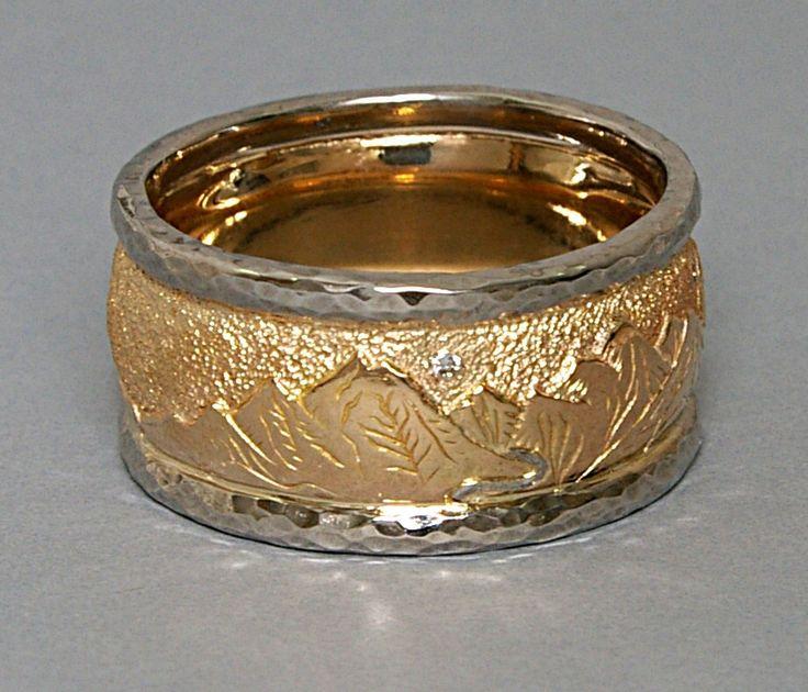 custom 14ky and palladium hand engraved wedding ring - Customized Wedding Rings